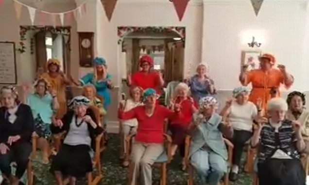 Elderly care home residents perform a take on the Baby Shark dance