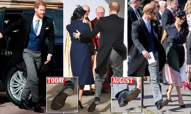 Prince Harry attends Princess Eugenie's wedding in distressed shoes