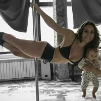 Pole dancer, 24, shows off her moves with newborn