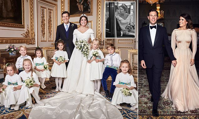 Princess Eugenie resplendent in first official pictures of her wedding