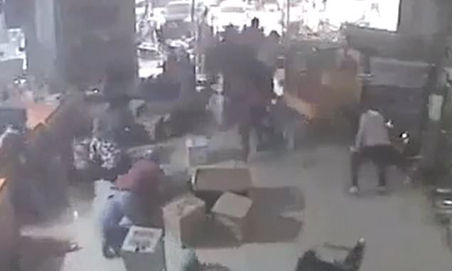 New footage from earthquake shows terrified shoppers thrown around