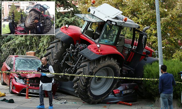 Turkish police have shot a tractor driver who was staging protest