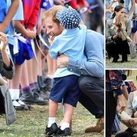 Hugs for Harry! Pregnant Meghan's joy as boy won't let go of Prince