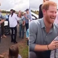 Prince Harry playfully mocks a girl because she didn't want a photo