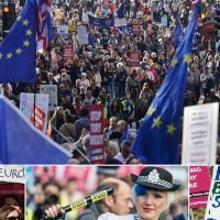 Thousands of anti-Brexit campaigners march through London