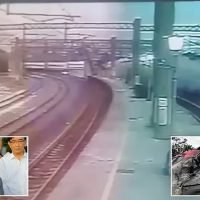 Footage shows the moment Taiwanese passenger train derails, killing 18