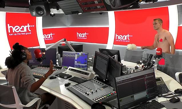 Startled Heart radio presenters realise studio cleaners are NAKED