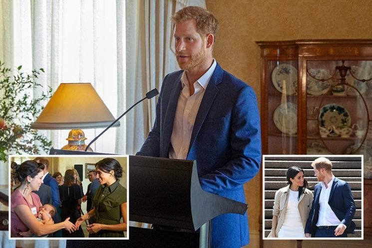 Prince Harry stutters saying the word 'baby' in first speech since Meghan Markle's pregnancy news