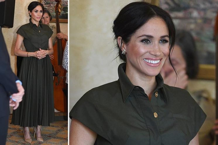 Meghan Markle wears £1,728 khaki maxi dress by US designer Brandon Maxwell with Diana's jewellery on day one of Australia tour