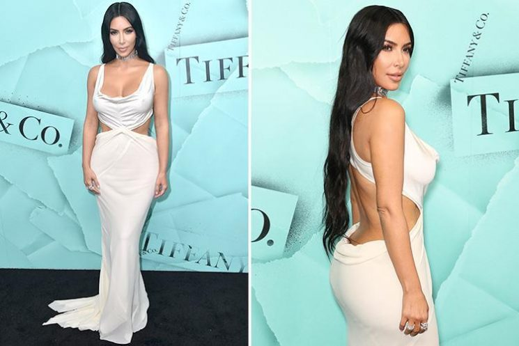 Kim Kardashian shows off her famous figure in bum skimming daring dress at Tiffany party