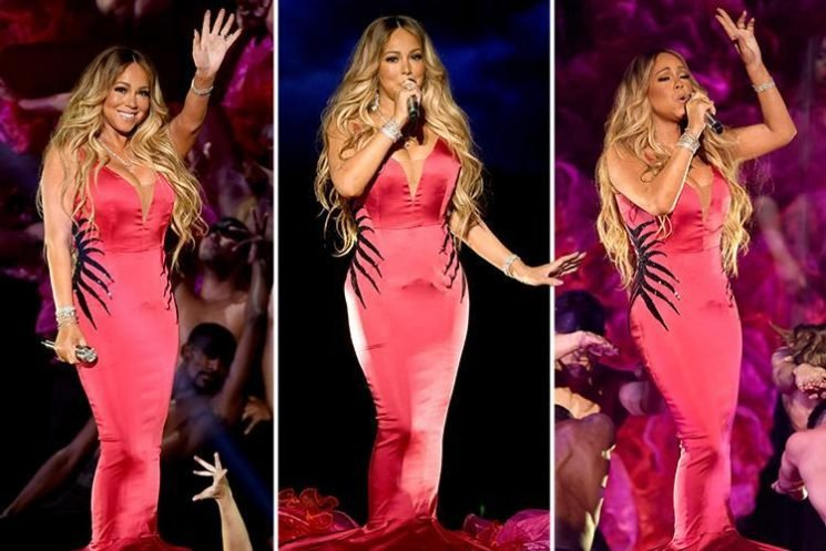 Mariah Carey mocked for not moving an inch on stage at AMAs in skintight fishtail dress