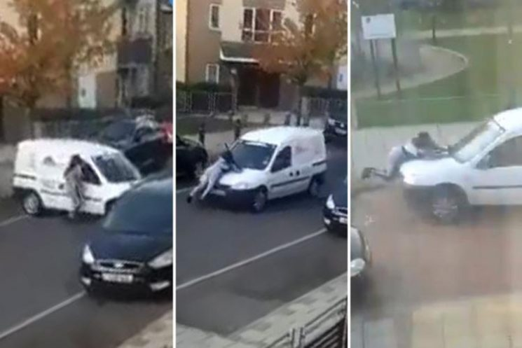 Dramatic moment white van driver speeds down street with woman clinging onto bonnet