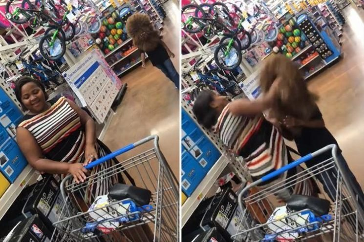 Mum PUNCHES her son in the face when he scares her with a Chewbacca mask in supermarket