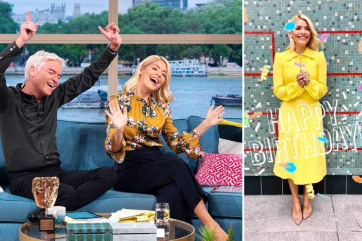 Holly Willoughby wows fans in a tailored yellow dress as celebrates This Morning's 30th birthday