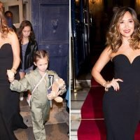 Myleene Klass looks seriously glam in chic black dress as she hold hands with her daughter at RAF celebration in London