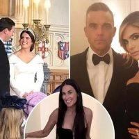 Robbie Williams jumped on stage to perform at Princess Eugenie and Jack Brooksbank's wedding party as A-listers did tequila shots