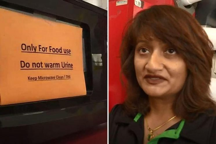 Cafe owner's bizarre sign begging customers to stop heating up their PEE in her microwave