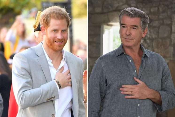 Prince Harry's open-necked look in Sussex compared to Pierce Brosnan's plunging necklines in Mamma Mia