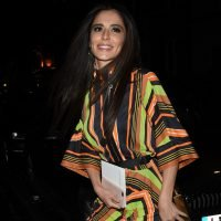 Cheryl beams as she enjoys rare night out with Nicola Roberts and Kimberley Walsh wearing vibrant stripped dress