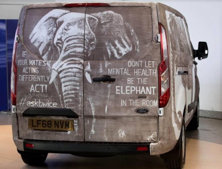 'If your mate is acting differently, ACT!' – 'Dirty' Ford transit van spreads life-saving mental health message