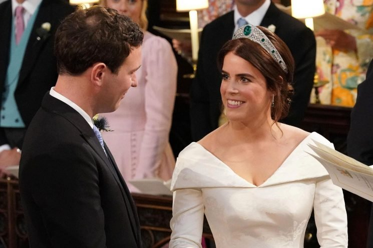 What Princess Eugenie's groom Jack Brooksbank whispered as she arrived at wedding chapel, according to a lip reader