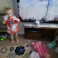 Boy, 2, destroys £600 TV by PAINTING it in nappy rash cream after mum leaves him alone for 10 minutes