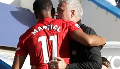 Anthony Martial embraces Jose Mourinho on Chelsea touchline after netting twice for Manchester United in 2-2 draw