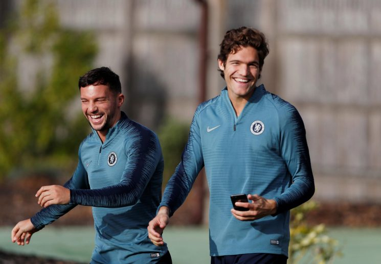 Embarrassing moment two Chelsea aces are shown up in training in hilarious gaffe ahead of Europa League clash with BATE Borisov tonight
