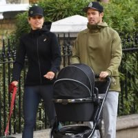 Spencer Matthews and Vogue Williams look the perfect parents on stroll with baby Theodore and their pet dog