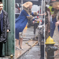 Peaky Blinders stars Finn Cole and Anya Taylor-Joy battle Storm Callum as they film in Liverpool
