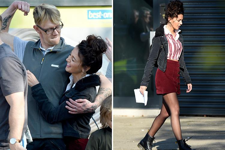 Michelle Keegan wears a red mini-skirt as she messes around with co-star on Brassic set