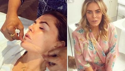 Patsy Kensit, 50, posts VERY frank picture while getting her 'menopausal beard' threaded – and jokes she no longer has a '5 o'clock shadow'