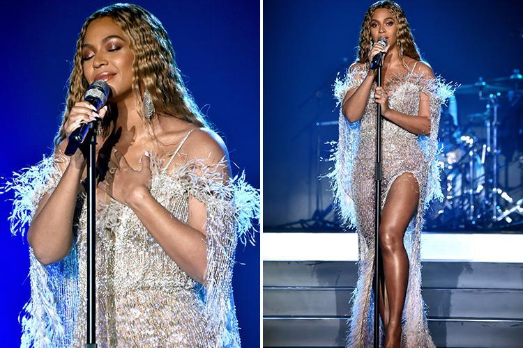 Beyonce stuns in shimmering gown with thigh high split while performing at charity gala in Santa Monica