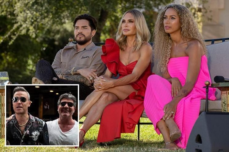 X Factor judges Robbie Williams and Ayda Field invade Simon Cowell's judges houses party