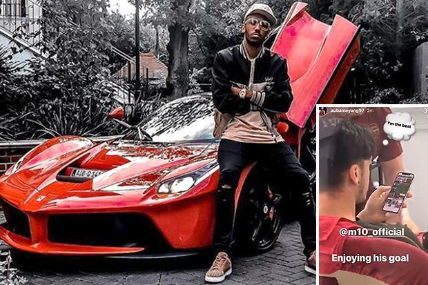 Pierre-Emerick Aubameyang shows off £1m limited-edition Ferrari before exposing Mesut Ozil for watching Leicester wonder goal back