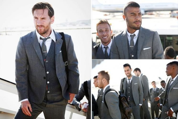 Lionel Messi and Barcelona stars fly to face Tottenham in £4,200 suits amid rumours over Argentina's rift with Gerard Pique