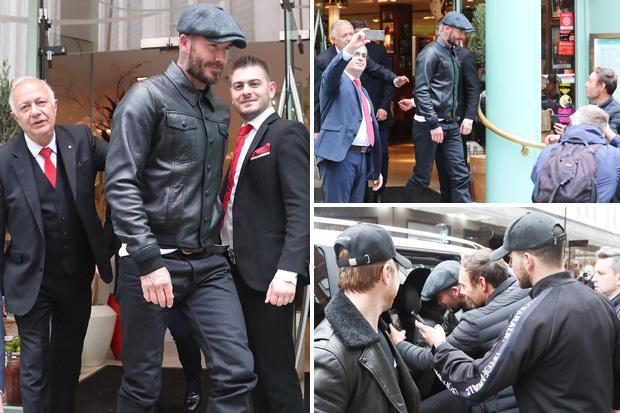 David Beckham heads out for lunch with Gary Neville and Ryan Giggs as Manchester United legends get together ahead of Valencia clash