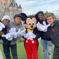 Paul Pogba, Kylian Mbappe, Antoine Griezmann and Ousmane Dembele hang out with Mickey Mouse at Disneyland Paris