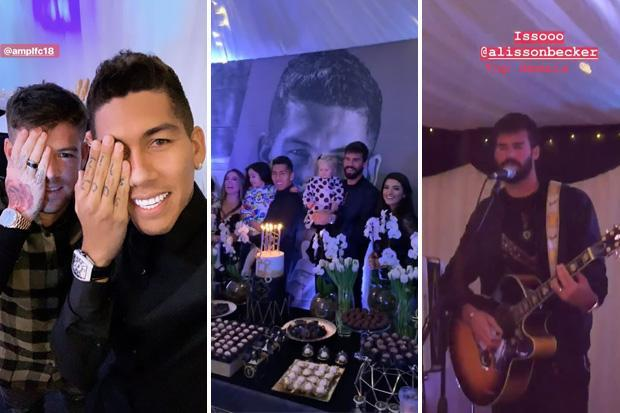 Liverpool stars Roberto Firmino and Alisson hold joint birthday party as goalkeeper ace entertains guests on guitar