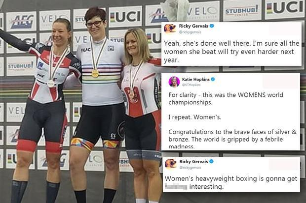 First transgender cycling world champion hits back as Katie Hopkins and Ricky Gervais join debate over whether she has unfair advantage