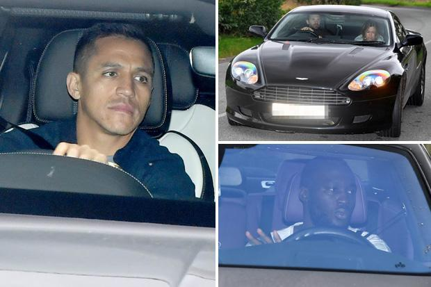 Manchester United stars including Alexis Sanchez and Romelu Lukaku look serious as they arrive for training with under-pressure Jose Mourinho