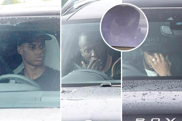 Manchester United stars look glum on way into training… but Jose Mourinho is nowhere to be seen