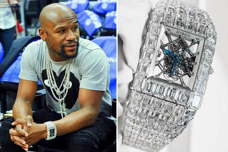 Floyd Mayweather heads for night out at NBA game wearing sparkling £13.75m diamond-encrusted watch