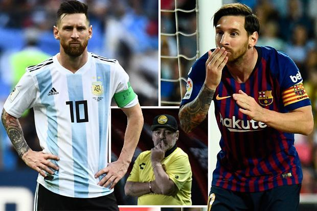 Lionel Messi blasted by Diego Maradona in astonishing attack claiming he cares more about Barcelona than Argentina