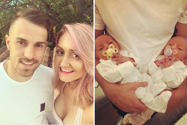 Arsenal star Aaron Ramsey reveals his newborn twins for first time in touching Instagram post