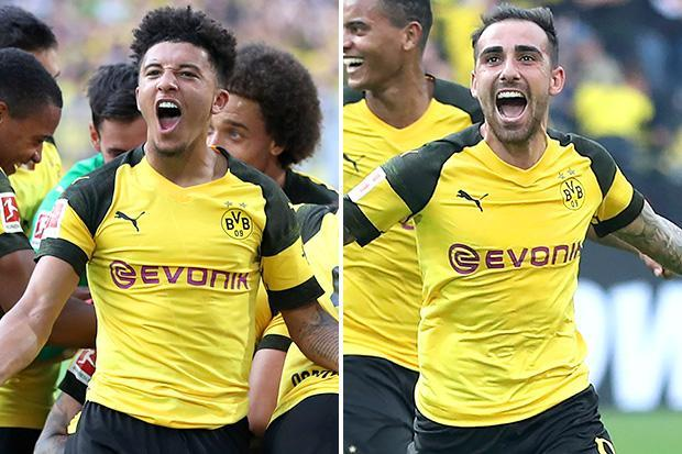 Dortmund 4 Augsburg 3: Jadon Sancho celebrates England call-up with assist in thrilling win as Paco Alcacer scores hat-trick