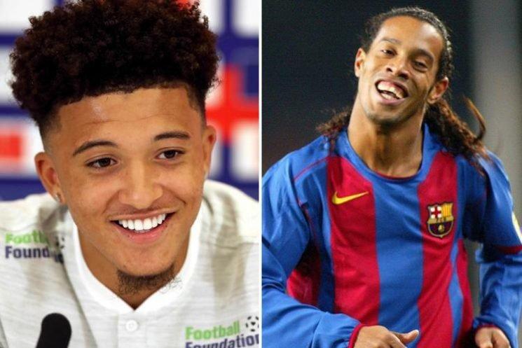 England new boy Jadon Sancho reveals Brazil magician Ronaldinho as his hero