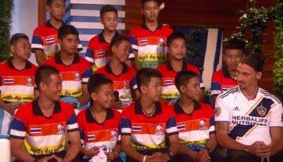 Zlatan Ibrahimovic surprises trapped Thai cave football team on Ellen DeGeneres show