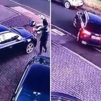 Dramatic moment moped gang kick down front door and swipe car keys before stealing £40k Audi from driveway