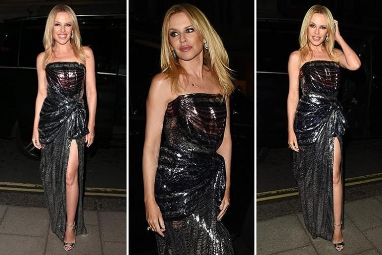 Kylie Minogue sports fuller lips and stuns in shimmering frock at the London Palladium for Prince Charles' 70th birthday